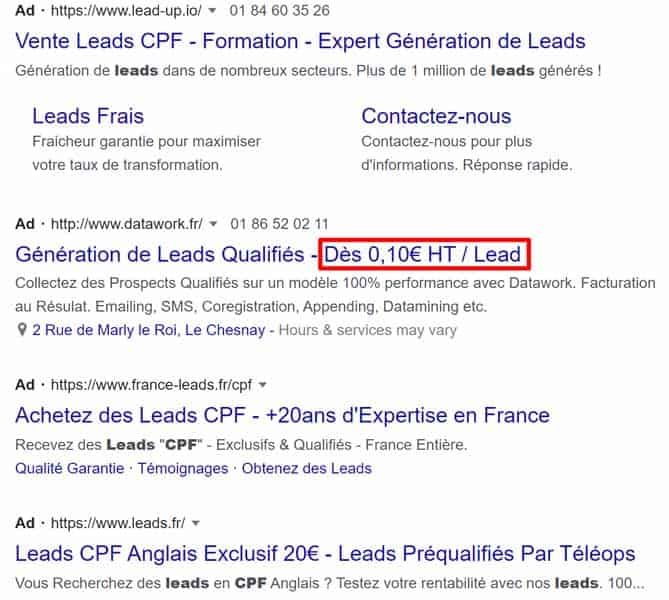 achat leads CPF